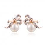 Kõrvarõngad pärliga, Austria kristallidega, kullatud