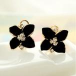 """Kõrvarõngad """"Must lill"""" Austria kristallidega"""